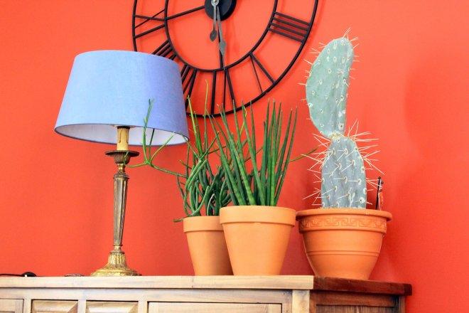 horloge-murale-lampe-abat-jour-tissu-bleu-ciel-pot-terre-cuite-plante-grasse-verte-cactus